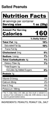 Virginia peanuts salted nutrition panel 40 oz. tin.