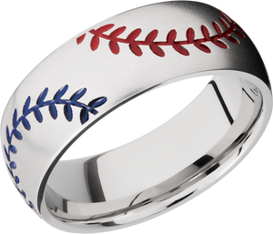 Cobalt Chrome 8mm domed band with baseball pattern and Red and Blue Cerakote stitching
