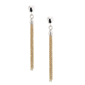 SS YELLOW GOLD PLATED TASSEL EARRINGS