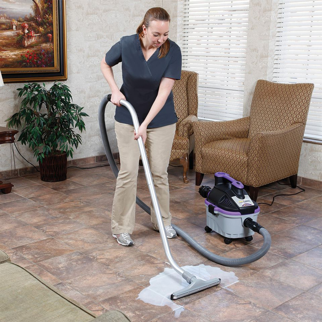 The ProGuard hard floor tool makes quick work of cleaning hard floors such as tile, wood and concrete.