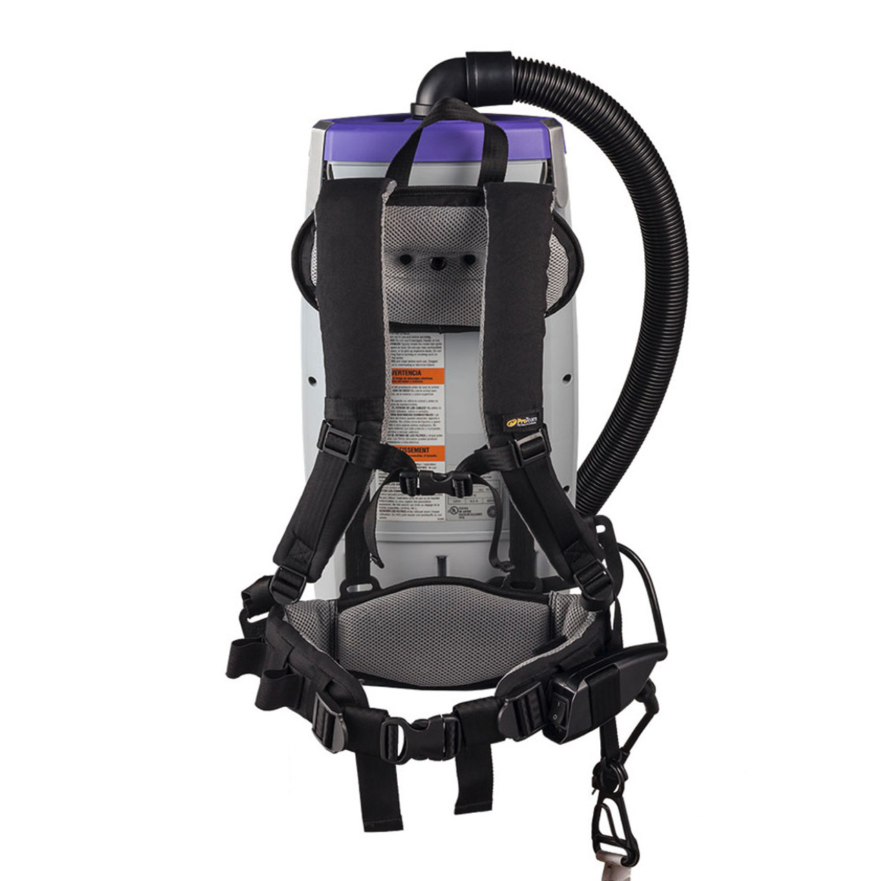 The SuperCoach Pro 10 has an adjustable harness balances the vacuum to make workers comfortable.