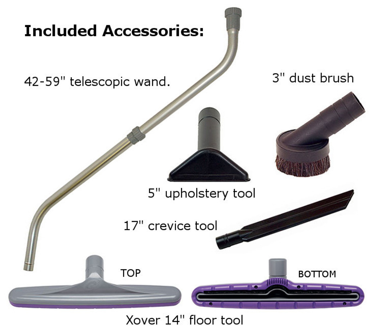 "The 107100  Xover Floor Tool Kit w/1.5"" Telescoping Wand (107100) is included!"