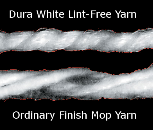 Dura White Lint Free Yarn is wound tighter than ordinary mop yarns.