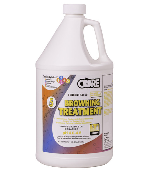 Specialized browning treatment for carpet and upholstery that is stained due to overwetting and severe alkaline conditions among other circumstances.