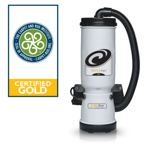 The MegaVac has earned the Gold Seal of Approval/Green Label from the Carpet and Rug Institute (CRI), for its 99.9% efficiency in removing particles 1 micron and larger.