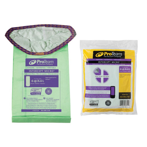 Genuine ProTeam Intercept Micro Filter Bags for 6qt. BackPack Vacuums.