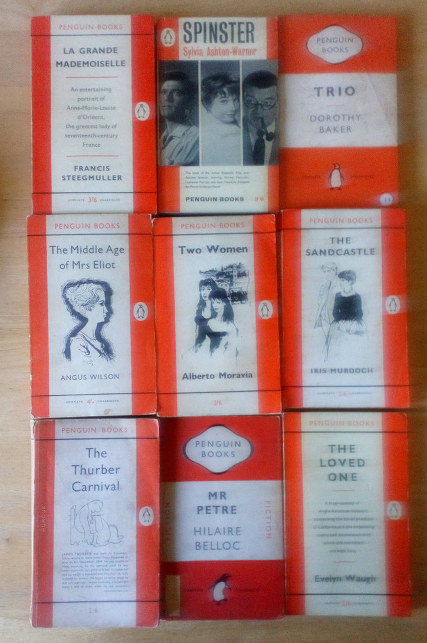 9 Book LOT - Vintage PENGUIN Paperbacks - Classics Orange covers