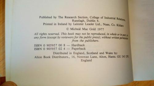 Mac Gréil, Mícheál - Prejudice and Toleration in Ireland HB - SIGNED - Sociology 1977