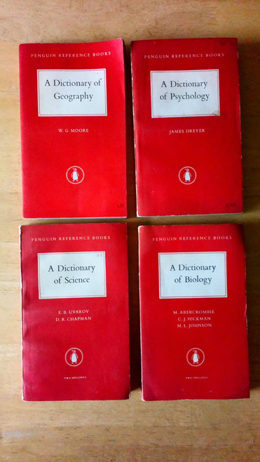 4 Vintage Penguin Dictionaries 1950's - Science , Geography, Biology & Psychology