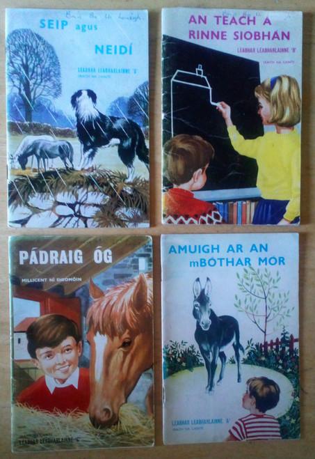Ní Shiomóin, Millicent - 4 book Lot - Vintage As Gaeilge Sraith na Cainte 1971, Leabhair Leabharlainne A B C & D