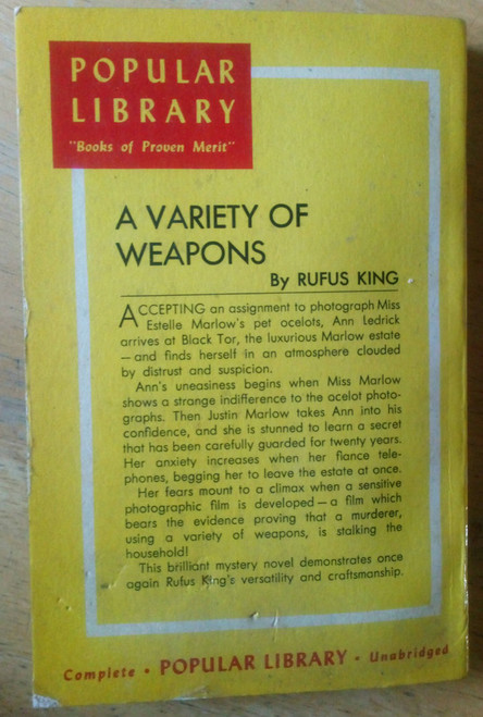 King , Rufus - A Variety of Weapons - Vintage PB Pulp USA 1943