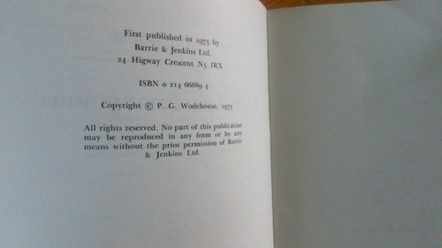 Wodehouse, P.G - Bachelors Anonymous - PB Proof Copy  1973 Humour