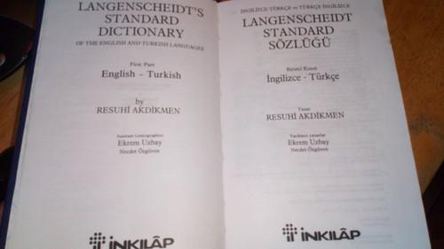 Akdikmen, Resuhi - Langenscheidt Standard English Turkish Dictionary HB  İngilizce–Türkçe - İngilizce