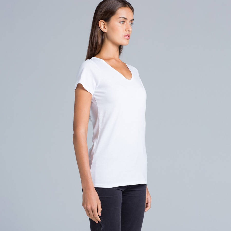 Ladies Bevel V-Neck T-Shirt (White)