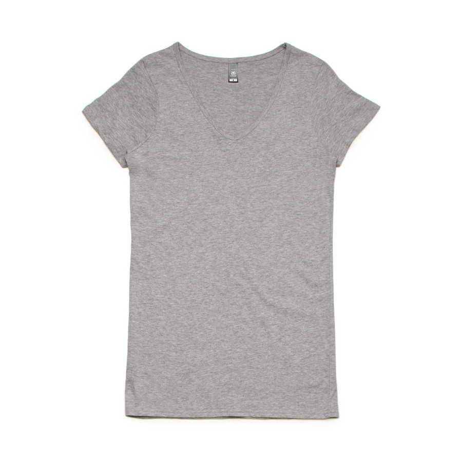 Ladies Bevel V-Neck T-Shirt (Grey Marle)