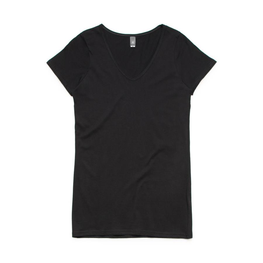 Ladies Bevel V-Neck T-Shirt (Black)