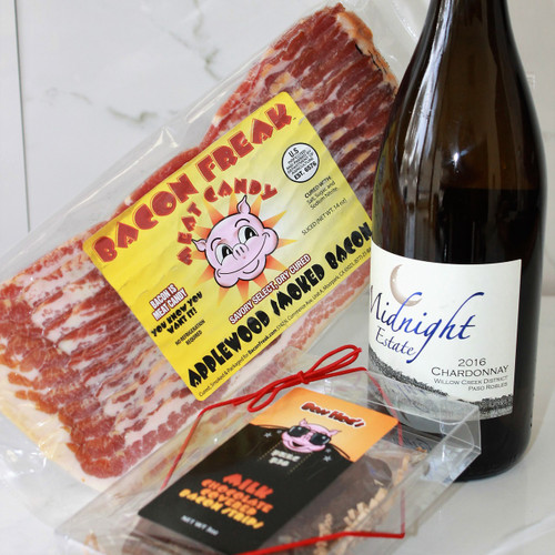 Bottle of Chardonnay, package of Bacon Freak Applewood Smoked Bacon, Chocolate Covered Bacon Strips in gift box