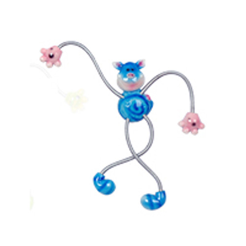 Blue Spotted Piggy Springy Magnet