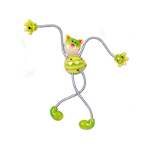Green Spotted Piggy Springy Magnet
