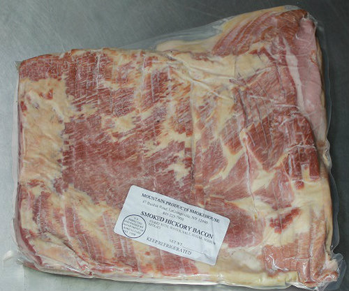 Hickory smoked bacon, 5 pound foodservice pack, cured and sliced