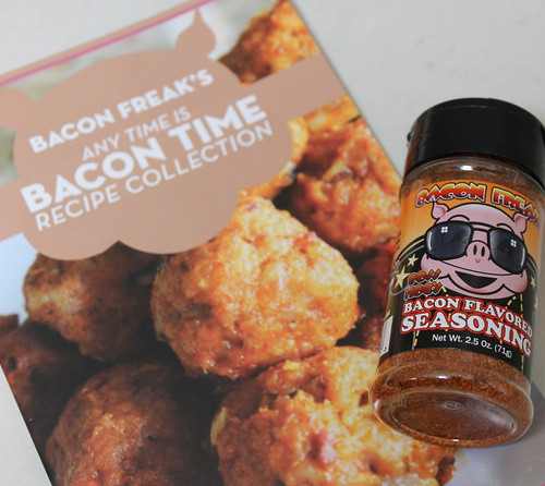 Any Time Bacon Flavor combo includes Any Time is Bacon Time cook booklet and Bacon Freak's Bacon Flavored Seasonings