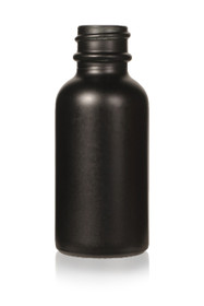 1 oz Matt Black -colored clear glass bottle with 20-400 neck finish