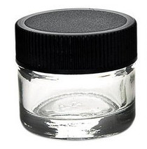 24 pcs, 5ml Glass Jars with Black Caps - great for Dabs, concentrates, oils, rosins. waxs, and pigbug