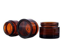 15G, Amber Glass Face Cream Pot Jar With Screw Cap And Liner
