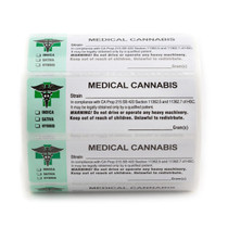1000 pcs, California Medical Cannabis Strain Labels ROLL State Compliant Sticker