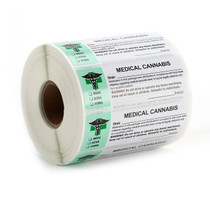 1000 pcs,  Generic Medical Cannabis Strain Labels ROLL Compliant Sticker (new design)