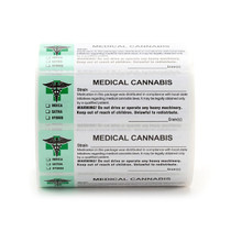 1000 pcs, Generic Medical Cannabis Strain Labels ROLL Compliant Sticker (new design)