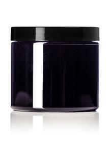 ($0.65 ea) 16 oz Black PET single wall jar with 89-400 neck finish w/ Black Plastic Lined Cap - Case of 245