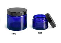 4 oz Cobalt BLUE GLASS Jar Straight Sided w/ Plastic Lined Caps