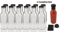12 oz Round Sauce Bottle - Complete Set of Bottles with Shrink Sleeve, Bottles, and Lids