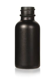 1 Oz Specialty Volcanic Black Boston Round w/ White Glass Calibrated Dropper (Non-Transparent)