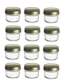 1 Ounce Mini Glass Honey Jars for Jam Honey with Gold Lid Pack of 24