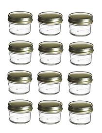 1 Ounce Mini Glass Honey Jars for Jam Honey with Gold Lid Pack of 24