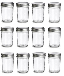 8 oz Mason Glass Jars for  Jam, Honey, Pie with Silver Lid - Pack of 12