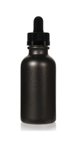 1 oz Specialty Volcanic Black Boston Round w/ Black Child Resistant Dropper with Calibration