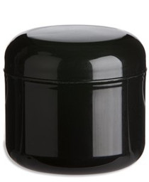 4 oz Black PP/PS double wall round base jar with 70-400 neck finish w/ Black PP 70-400 unlined dome lid