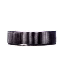 Black PP 38-400 ribbed skirt lid with unprinted pressure sensitive (PS) liner