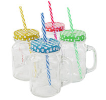 Mason Jar Mugs with Handle, COLOR Steel Lid and Plastic Straws. 16 Oz. Each. Old Fashion Drinking Glasses - Pack of 4.