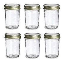 8 oz Mason Glass Jars for Jam, Honey, Pie with GOLD Lids - Pack of 6