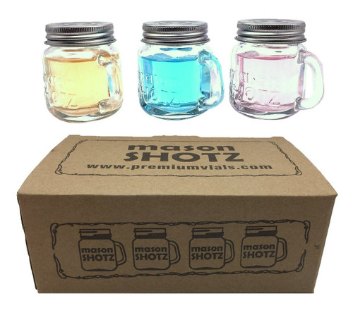 2 oz mason jar shot glasses with handles and silver lids set of 8 mini mason shooter glass. Black Bedroom Furniture Sets. Home Design Ideas
