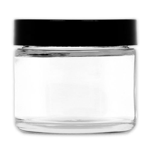 1 Oz Clear Glass Jar Straight Sided W Plastic Lined Cap