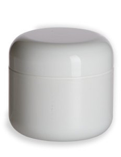 4 oz white PP/PS double wall round base jar with 70-400 neck finish w/ White PP 70-400 unlined dome lid