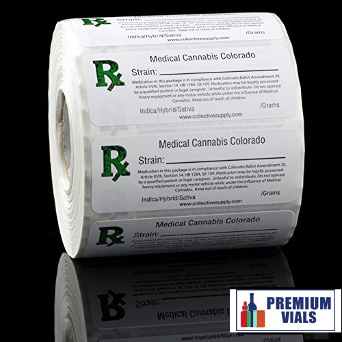 1000 pcs colorado medical cannabis strain labels roll state compliant labels
