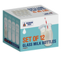 11 oz Glass Milk Bottle Set of 12 - Includes Reusable White Lids and Straws