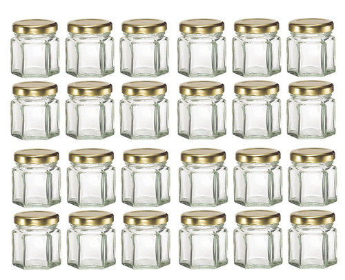 Mini Hexagon Glass Jars 1 5 Oz With Gold Lid Pack Of 24