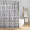 "Fabric Canvas Shower Curtain, 70""x70"", Morgan, Geometric Damask Inspired Design"